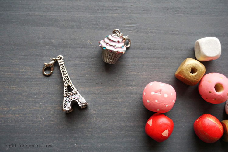 a sweet hand painted wooden bead keychain with charm, perfect for valentines day >> eight Pepperberries