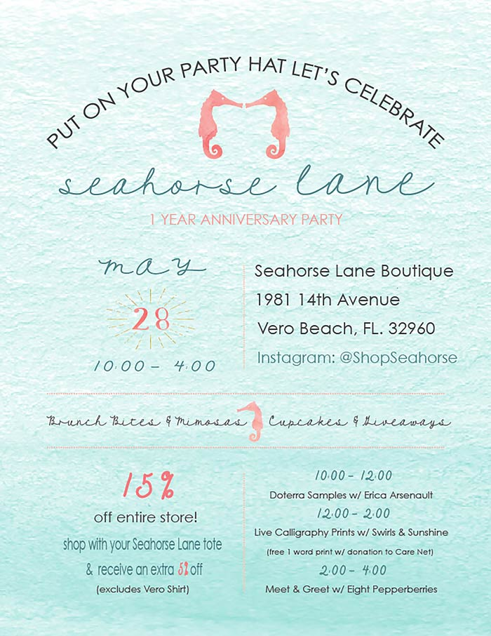 Seahorse Lane Anniversary Party May 28, 2016 10-4. Invitation designed by Eight Pepperberries