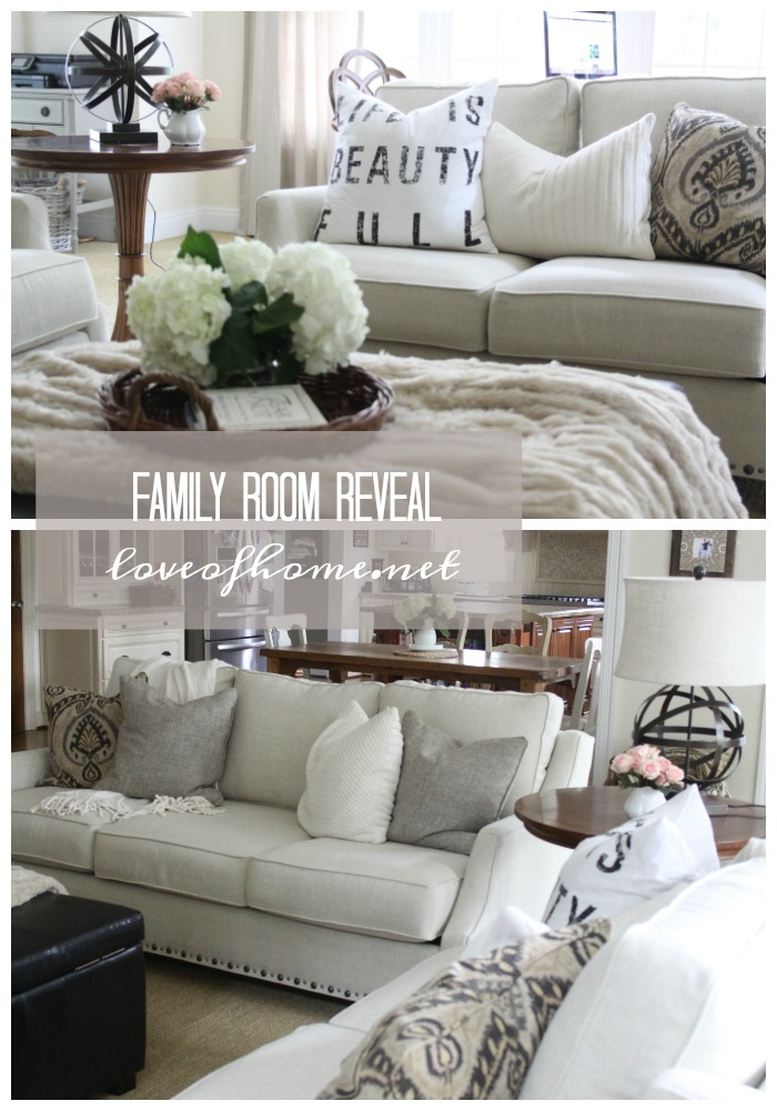 Family Room Reveal by Love of Home >> featured on Totally Terrific Tuesday host by Eight Pepperberries.