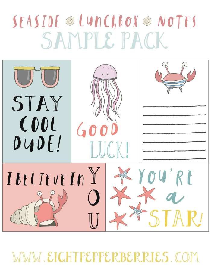 Seaside Lunchbox Notes Freebies