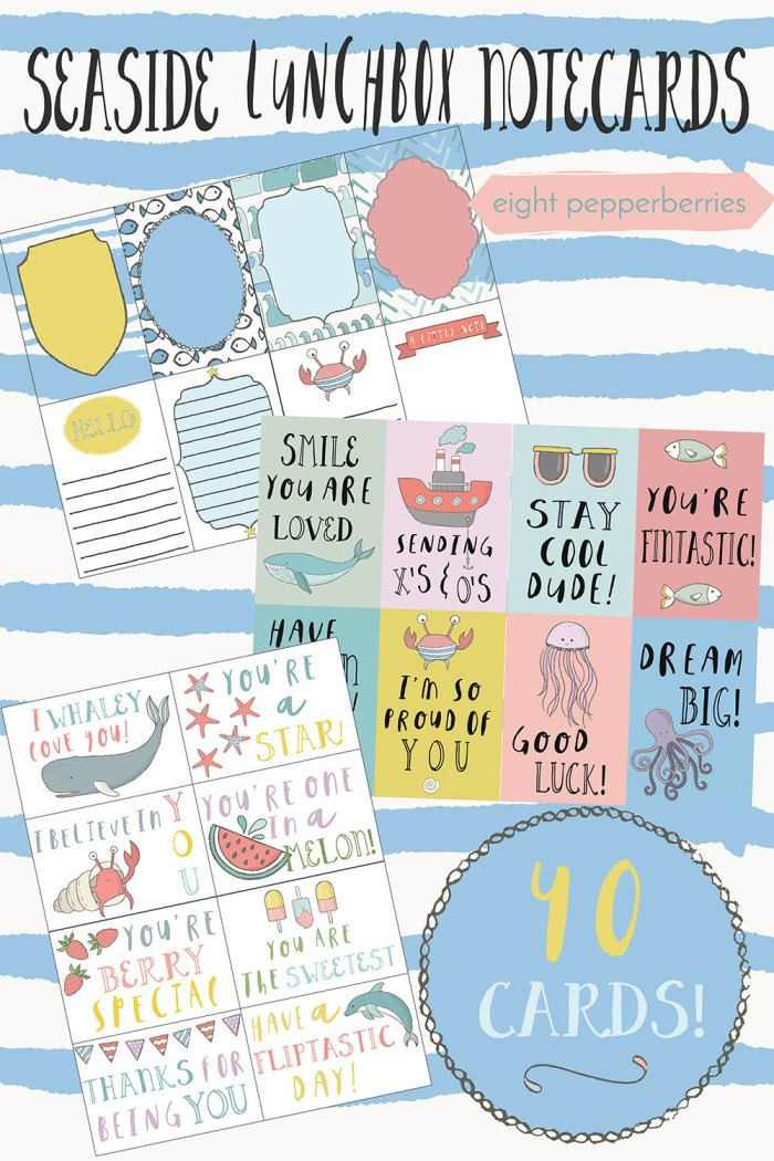Set of 40 Seaside Lunchbox Notes from Eight Pepperberries Paperie >> www.eightpepperberries.etsy.com