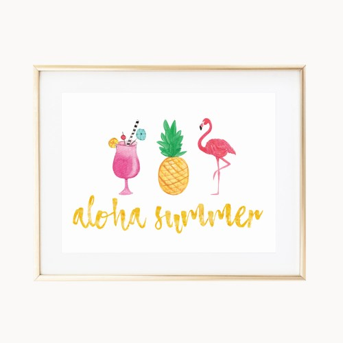 Aloha Summer Art Print by Eight Pepperberries Paperie || Available in three 4x6, 5x7, 8x10 || Print at home option available