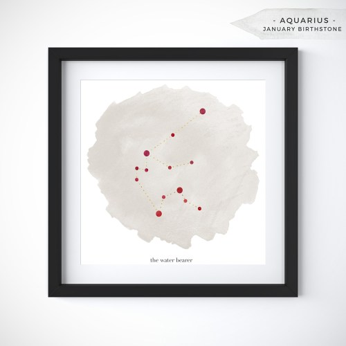 Aquarius (January 20 - February 18) Constellation Art Print Personalized With Birthstone Color by Eight Pepperberries