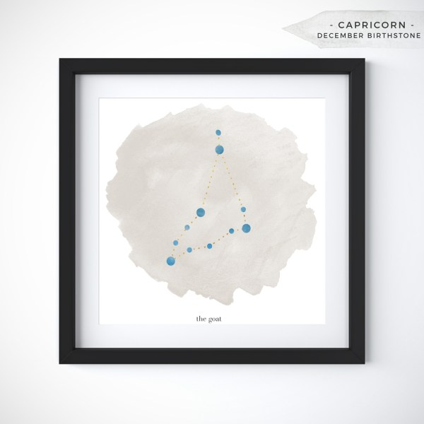 Capricorn (December 22 0 January 19) Constellation Art Print Personalized With Birthstone Color by Eight Pepperberries