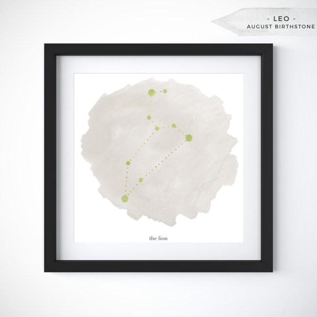 Leo (July 23 - August 22) Constellation Art Print Personalized With Birthstone Color by Eight Pepperberries