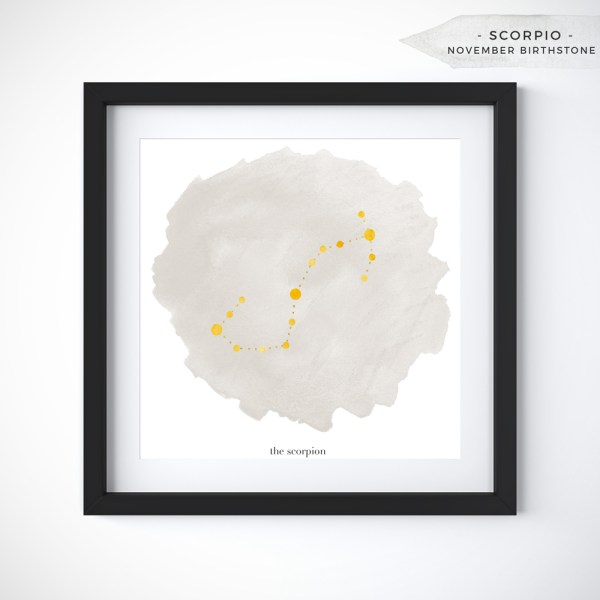Scorpio (October 23 - November 21) Constellation Art Print Personalized With Birthstone Color by Eight Pepperberries