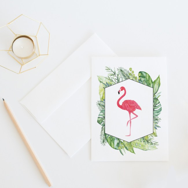 Tropical Flamingo Card || Send some fun snail mail with this everyday card by Eight Pepperberries