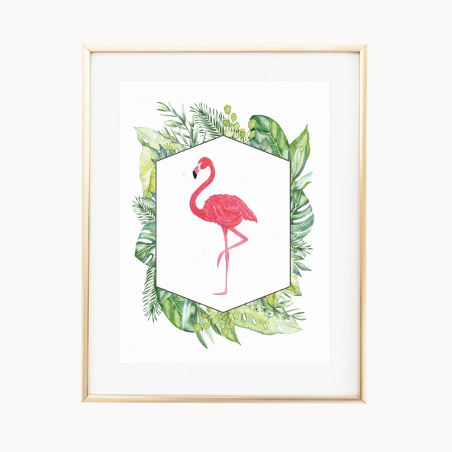 Tropical Flamingo Art Print by Eight Pepperberries Paperie || Available in three 4x6, 5x7, 8x10 || Print at home option available