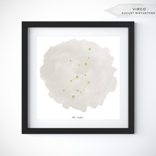 Virgo (August 23 - September 22) Constellation Art Print Personalized With Birthstone Color by Eight Pepperberries