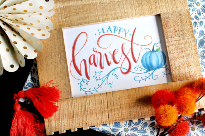 Free Printable Happy Harvest Art Print by Giggles Galore featured at the Totally Terrific Tuesday Link Party hosted by Eight Pepperberries