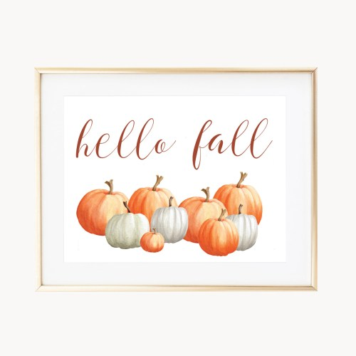 Happy Fall Pumpkins Art Print by Eight Pepperberries Paperie || Available in three sizes 4x6, 5x7, 8x10 || Print at home option available