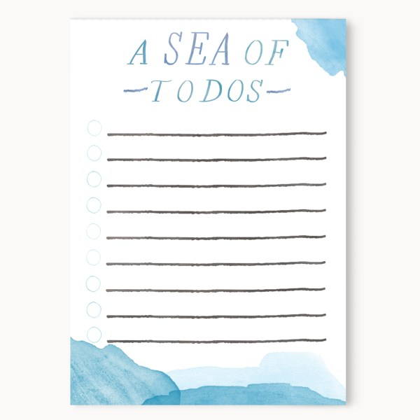 """A Sea Of To Dos List Notepad    50 Sheets    4x5.5"""" Size    28lb White Vellum Finish    $10 >> Eight Pepperberries Paperie"""