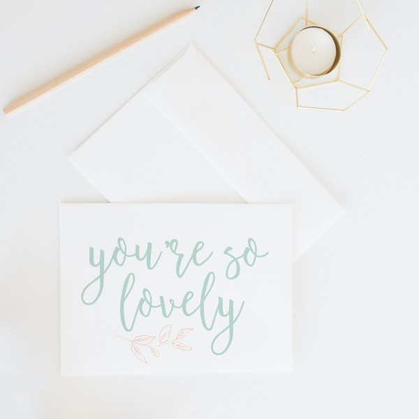 You're So Lovely Thank You Card || Send some whimsical snail mail with this lovely thank you card by Eight Pepperberries