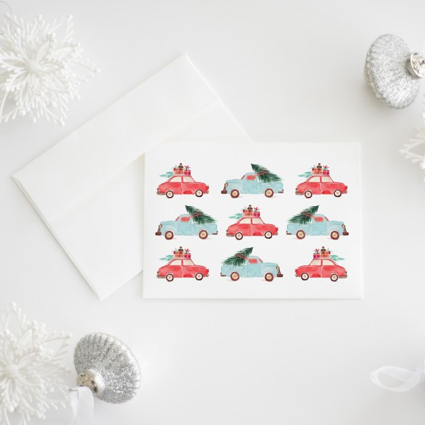 Holiday Cars || Whimsical Christmas card featuring watercolor cars traveling with trees and presents. Sold individually or as a set of 8 >> Eight Pepperberries