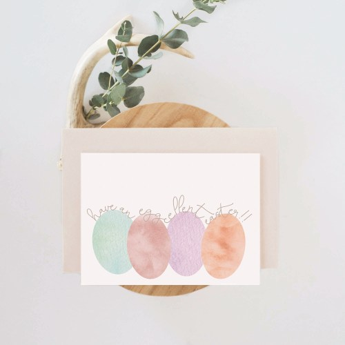 Eggcellent Easter || A funny Easter greeting card illustrated with watercolor Easter eggs. >> Eight Pepperberries Paperie