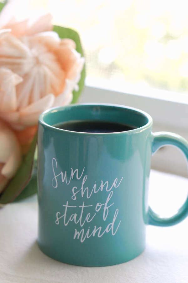 Sunshine State of Mind | Teal Ceramic Coffee Mug with Hand Lettered Quote by Eight Pepperberries