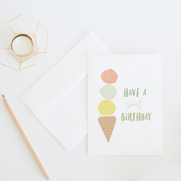 Have A Sweet Birthday || A birthday card featuring a whimsical ice cream cone >> Eight Pepperberries
