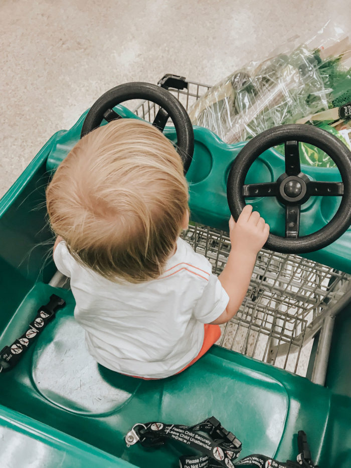 steering the shopping cart to buy flowers for our fall petite flower bouquets