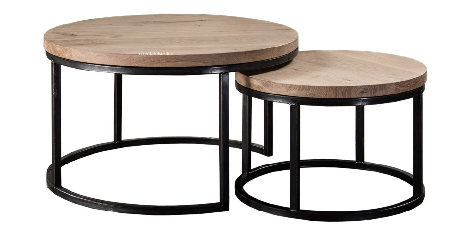 Eiken salontafel rond  rond onderstel