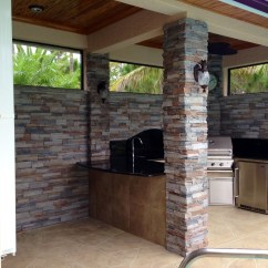 Stacked Stone Outdoor Kitchen Mission Style Table  Landscape Design Ideas