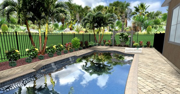 tropical landscaping and paver