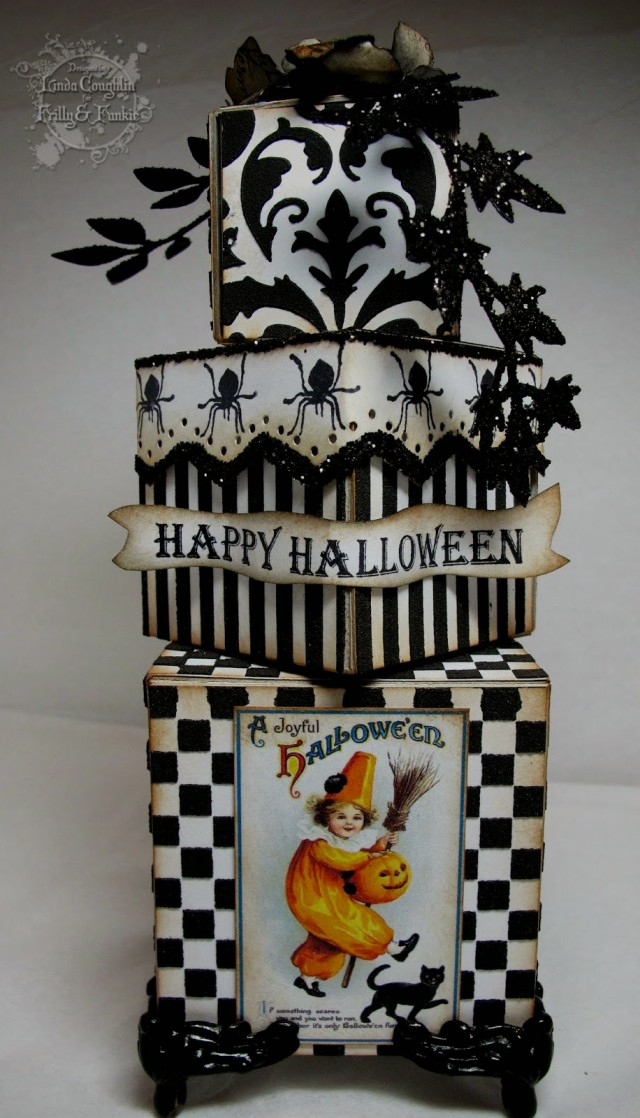 Vintage Halloween Artist Trading Block Tower by Linda Coughlin | Eileenhull.com