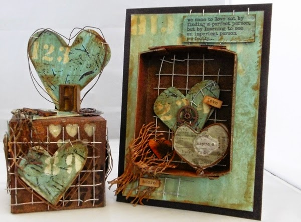 Deco Art Mixed-Media Heart Card and ATB by Tracy Evans