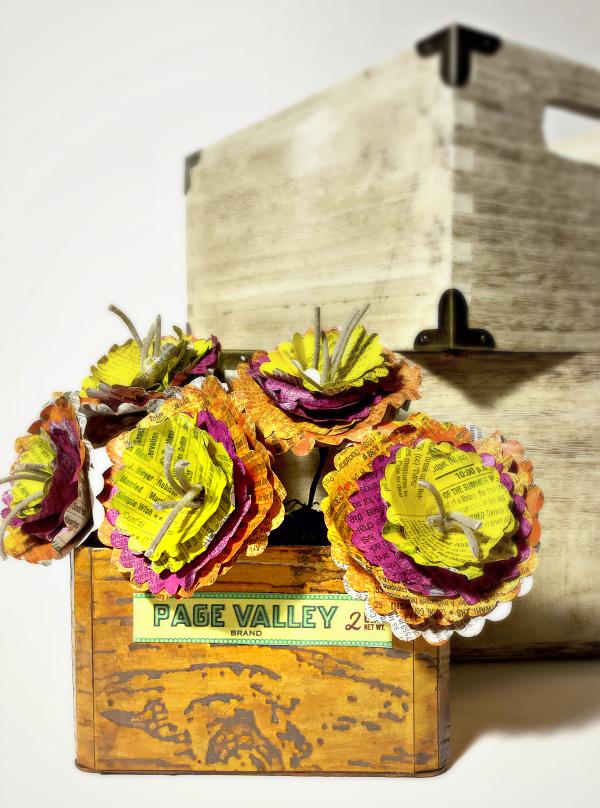 Newsprint Paper Flower Arrangement in Sizzix Vintage Travel Train Case by Michelle Zerull