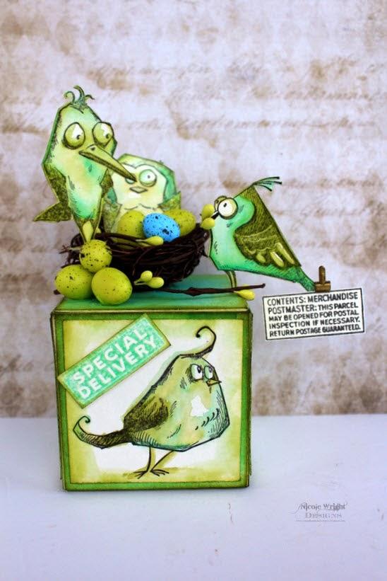 Bird Crazy Artist Trading Block by Nicole Wright