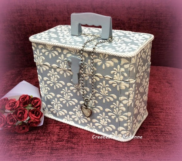 Vintage Travel Train Case with DecoArt Media by Anne Redfern