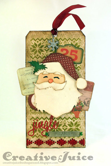 Stitched Santa Tag with Sizzix Stitchlits by Lisa Hoel