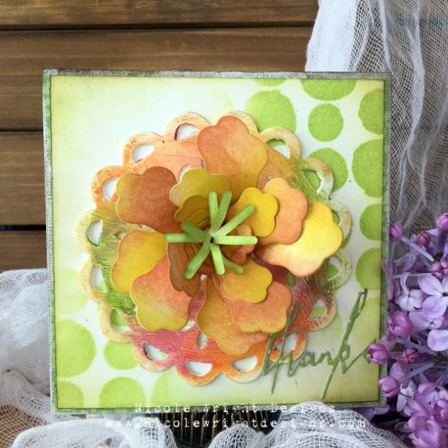 New Sizzix Paper Flower Projects:  Eileen Hull Flower Card Tutorial with Distress Crayons by Nicole Wright