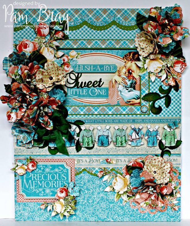 Crescent Photo Mat Art Board with Eileen Hull Paper Flower Party Sizzix Dies and Graphic 45 by Pam Bray