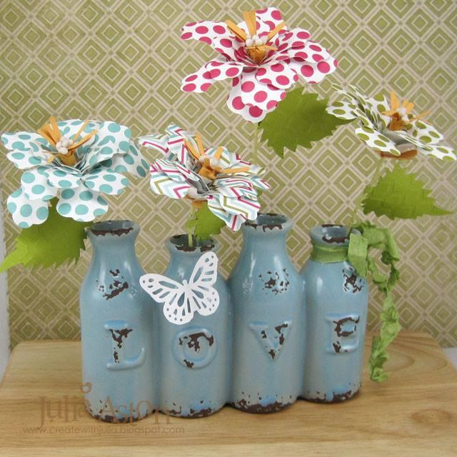 Eileen Hull Paper Flower Tutorials : Sizzix Rolled Flower Love Vase by Julia Aston