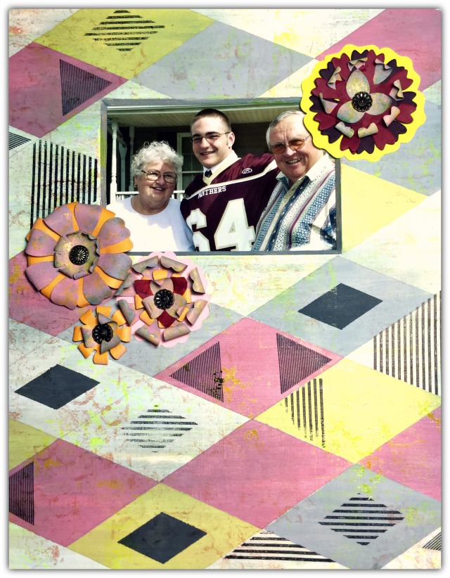 Crescent Photo Art Mat and Sizzix Eileen Hull Paper Flower Party Heart and Soul Mixed Media Tutorial Paper Flowers by Michelle Zerull