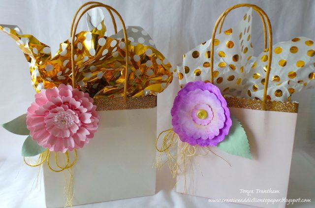 Sizzix Party Decor Tutorials: Dress Up Dollar Store Gift Bags with Eileen Hull Paper Flower Dies by Tonya Trantham