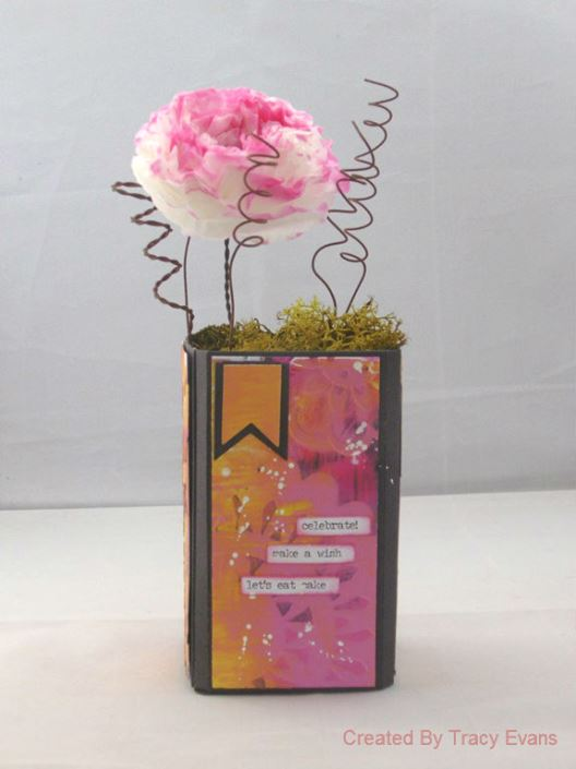 Sizzix Party Decor: Eileen Hull Canister with Coffee Filter Flower Centerpiece Tutorial by Tracy Evans