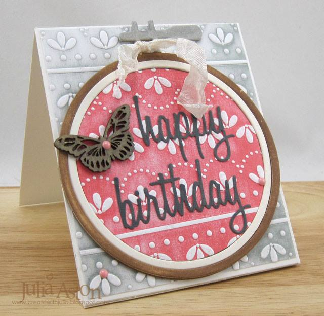 Sizzix Card Making Ideas Part - 48: Sizzix Card Making Ideas: Eileen Hull Embroidery Hoop With Embossed Eyelet  Lace Card Tutorial By