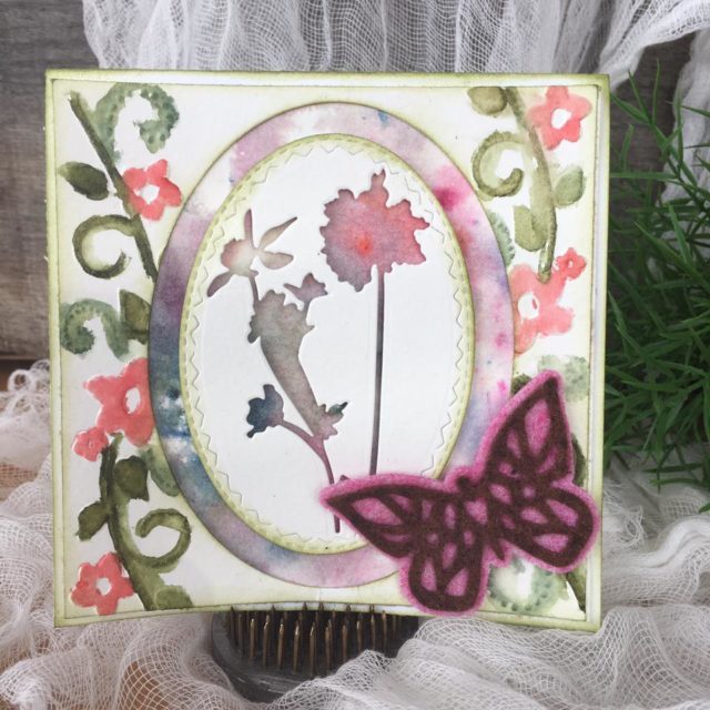 Heartfelt Sizzix Project Ideas:  Watercolor Blooms and Butterflies Card by Nicole Wright