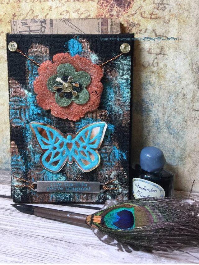 Kunin and Sizzix Heartfelt Project Tutorials: Felt Patina Pocket Journal by Karen Bearse