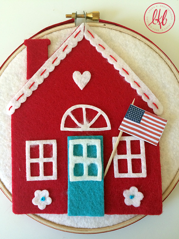 Kunin and Sizzix Heartfelt Project Tutorials: Home of the Brave Embroidery Hoop by Laura Bray