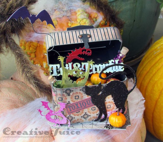 Eileen Hull Holiday Sizzix Project Tutorials: Toil and Trouble Halloween Train Case by Lisa Hoel