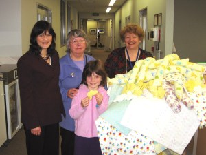 Eileen with 100 items made for Wellington Neonatal Unit.