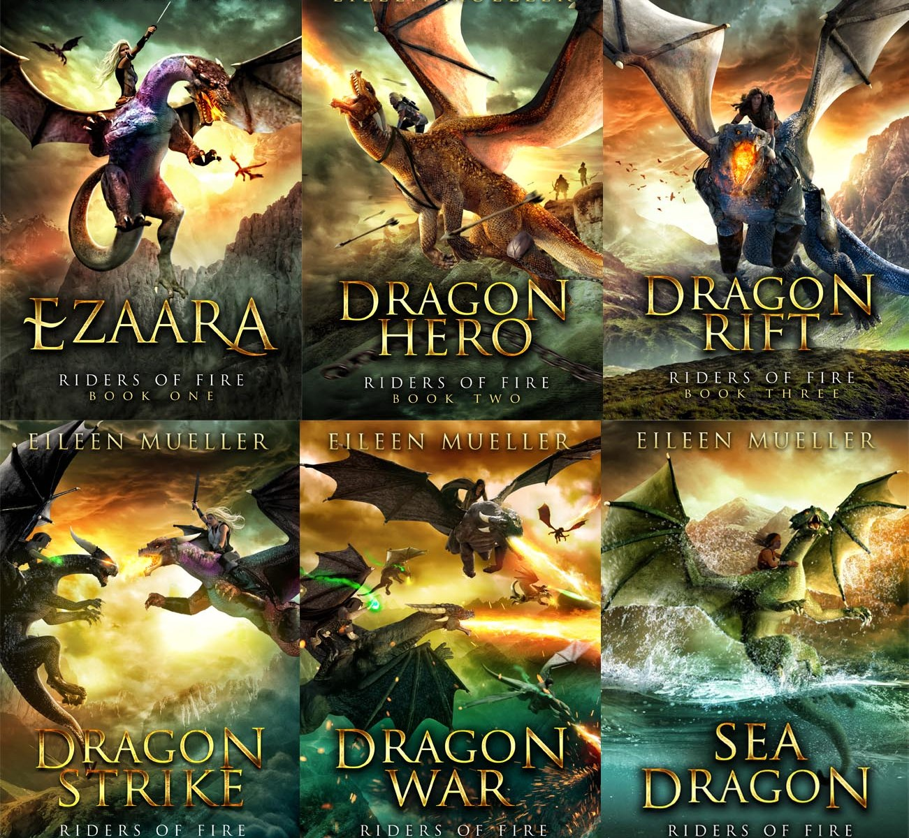 Riders of Fire Books 1-6: Ezaara, Dragon Hero, Dragon Rift, Dragon Strike, Dragon War and Sea Dragon.