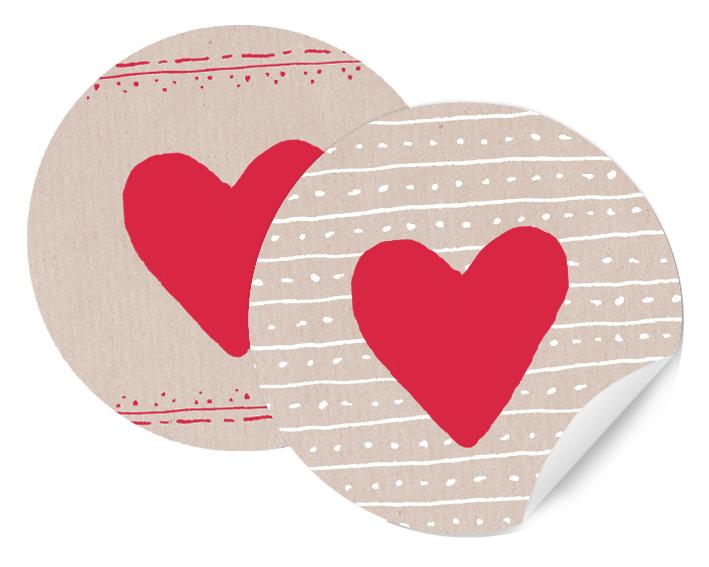 Herz Sticker 24 Geschenkaufkleber rot creme 4cm  EINE