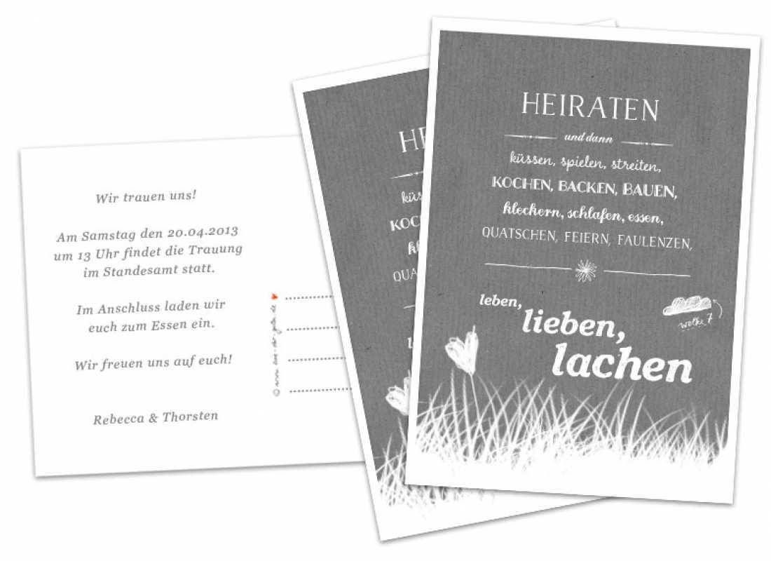Hochzeitseinladungskarten Heiraten und dann GRAU