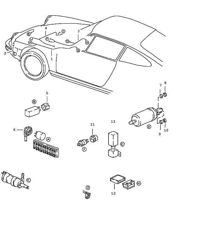 Porsche 911 1978-1983 Wiring harness pump headligh…
