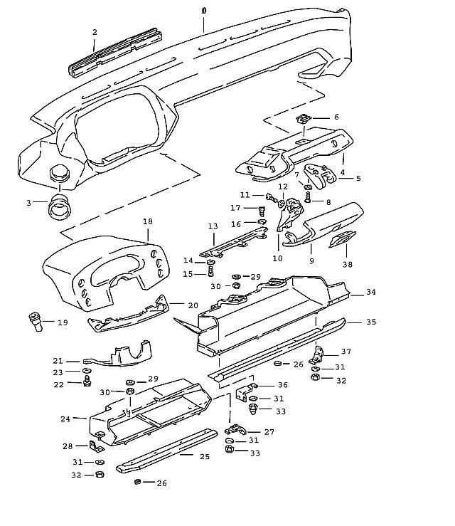 Porsche 928 1983-1986 Dashboard trim leather ny3 greyish
