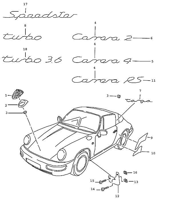 Porsche 964 1989-1994 Stone guard film TURBO-LOOK