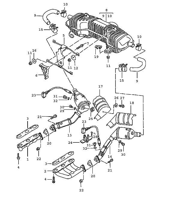 Porsche Boxster/986 1997-2004 Left catalytic converter